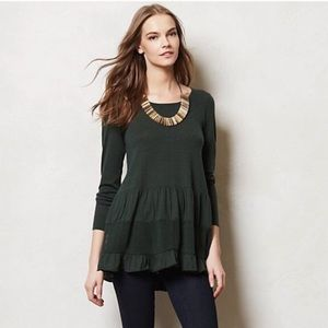 Anthropologie Knitted & Knotted Ruffle Sweater M
